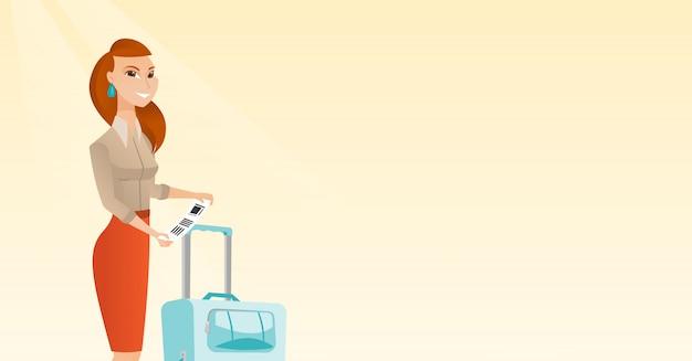 白人女性の荷物タグを表示します。 Premiumベクター