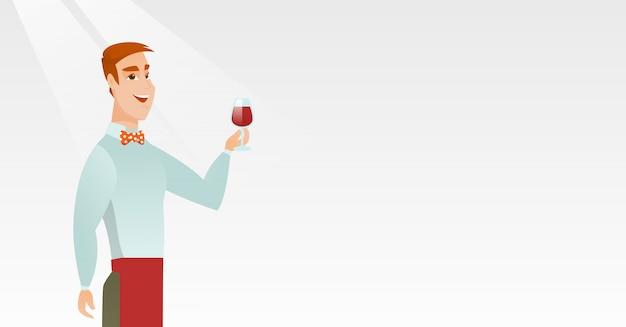 Бармен держит бокал вина в руке. Premium векторы