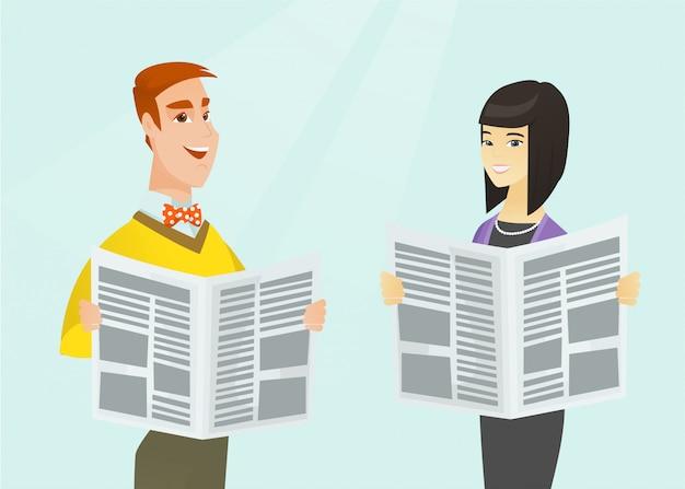 アジアの女性と白人の男が新聞を読みます。 Premiumベクター