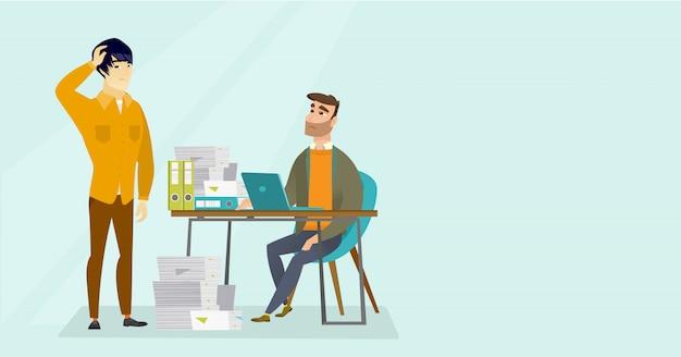 事務員が書類をたくさん持っています。 Premiumベクター
