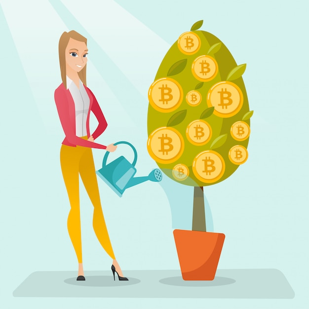 Бизнес женщина полива деревьев с биткойн монет. Premium векторы