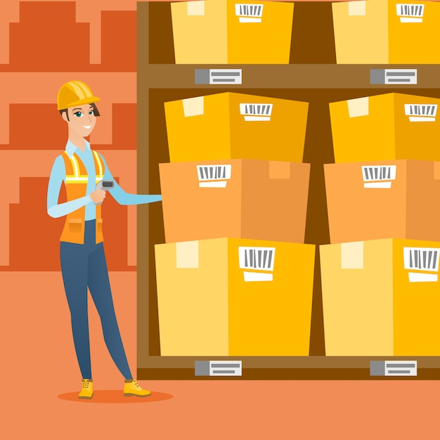 倉庫作業員がボックスのバーコードをスキャンします。 Premiumベクター
