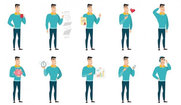 Векторный набор иллюстраций с деловыми людьми. Premium векторы