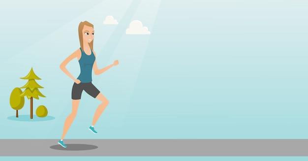 走っている若い女性 Premiumベクター