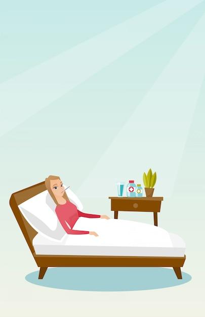 温度計がベッドに敷設の病気の女性。 Premiumベクター