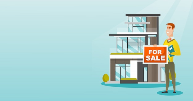 Молодой кавказский маклер предлагая дом. Premium векторы