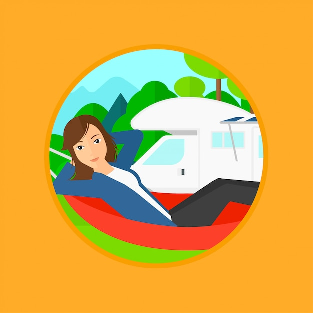 モーターホームの前にハンモックで横になっている女性。 Premiumベクター
