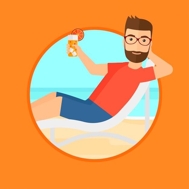 男はビーチチェアでリラックス。 Premiumベクター