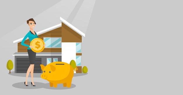 女性は家を買うために貯金箱にお金を節約します。 Premiumベクター