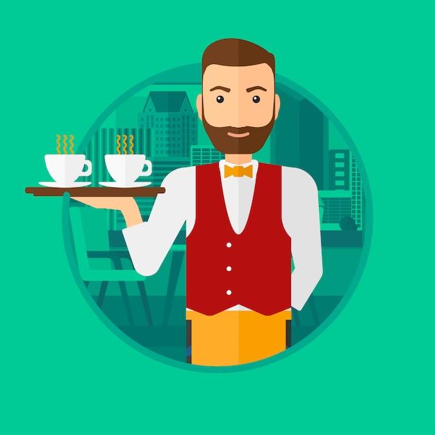 Официант держит поднос с чашками кофе или чая. Premium векторы