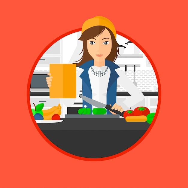健康的な野菜のサラダを調理する女性。 Premiumベクター