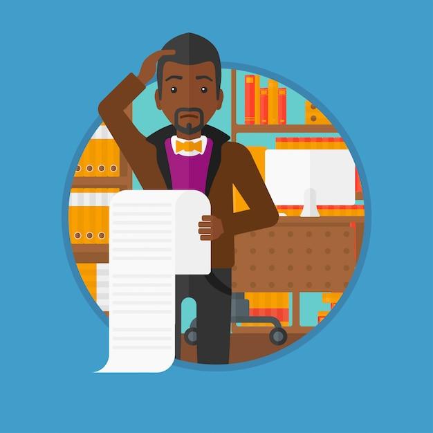 Бизнесмен держа длинную иллюстрацию вектора счета. Premium векторы