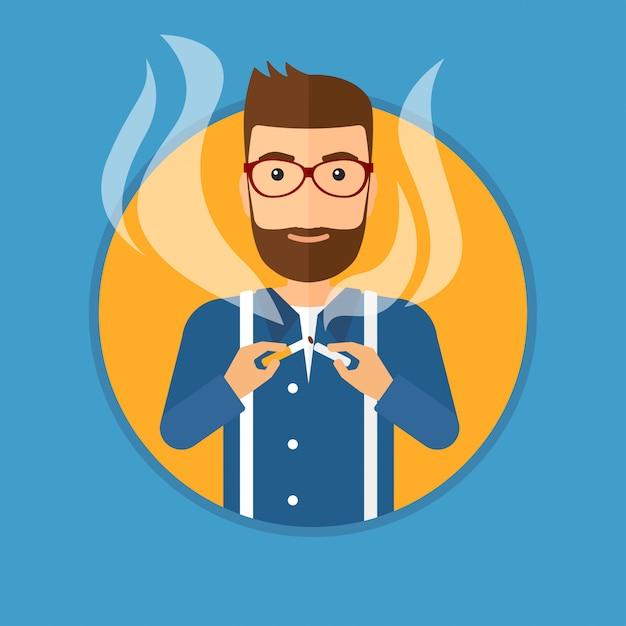 若い男が喫煙をやめます。 Premiumベクター