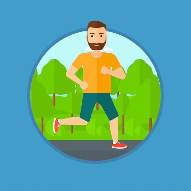 走っている若い男。 Premiumベクター