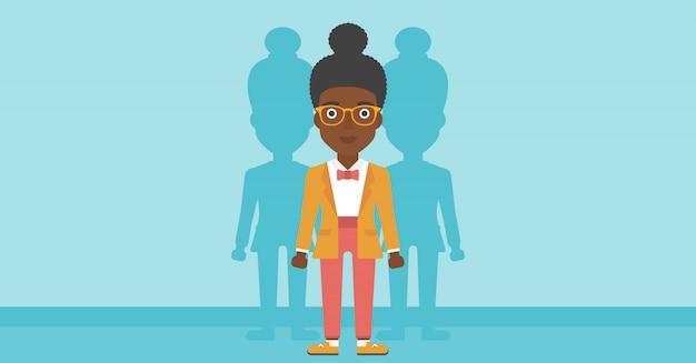 仕事のベクトル図を探している女性。 Premiumベクター