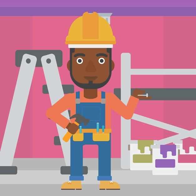 陽気な修理エンジニア。 Premiumベクター