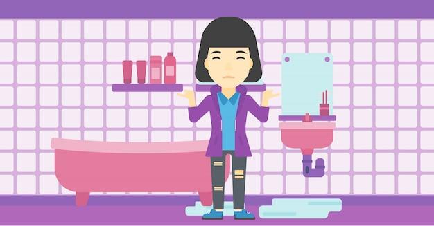 Женщина в отчаянии, стоя возле протекающей раковины. Premium векторы