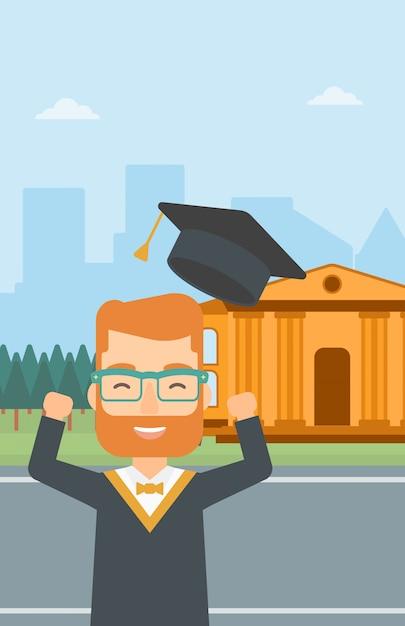 大学院生は彼の帽子を投げます。 Premiumベクター