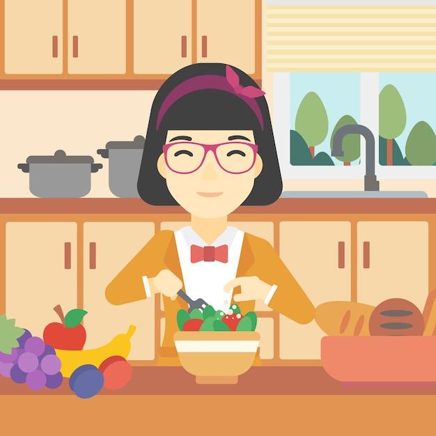 Женщина готовит овощной салат векторные иллюстрации. Premium векторы