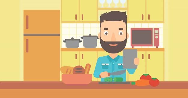 Мужчина готовит еду. Premium векторы