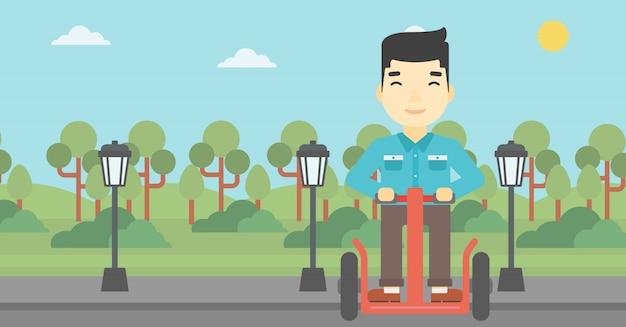 男運転電動スクーターのベクトル図です。 Premiumベクター