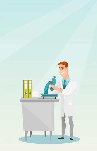 顕微鏡による実験室助手 Premiumベクター