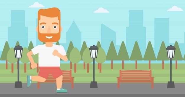 陽気な男がジョギングします。 Premiumベクター