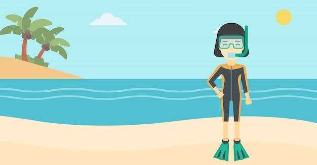 女性のスキューバダイビングビーチのベクトル図です。 Premiumベクター