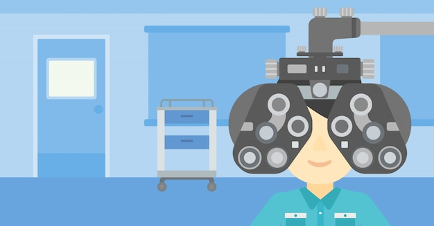 検眼中の患者 Premiumベクター