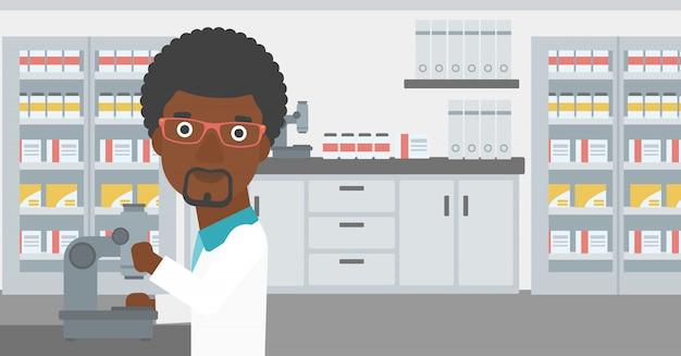 顕微鏡付き実験室助手 Premiumベクター