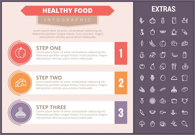 Здоровая пища инфографики шаблон, элементы, значки Premium векторы