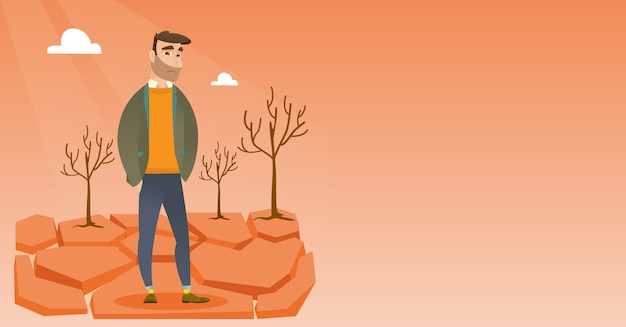 Печальный человек в пустыне векторные иллюстрации. Premium векторы