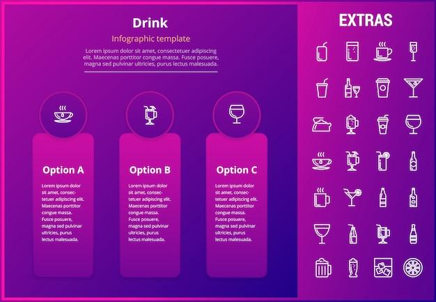 インフォグラフィックテンプレート、要素およびアイコンを飲む Premiumベクター