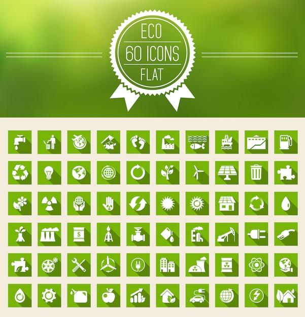 エコロジーフラットアイコンセット Premiumベクター