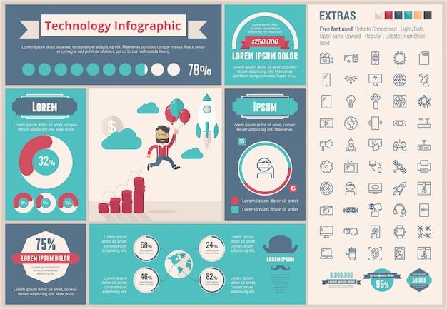 技術フラットデザインインフォグラフィックテンプレート Premiumベクター