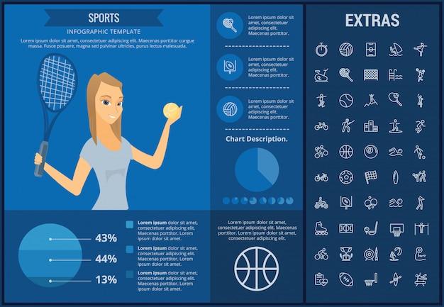 Спортивный инфографики шаблон, элементы и значки Premium векторы