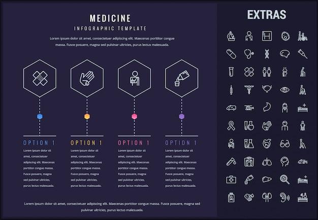 医学インフォグラフィックテンプレート、要素およびアイコン Premiumベクター