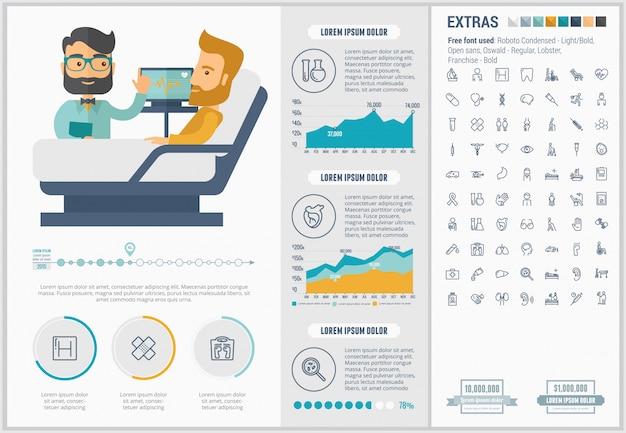 Медицина плоский дизайн инфографики шаблон и набор иконок Premium векторы