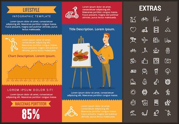 Образ жизни инфографики шаблон, элементы и значки Premium векторы