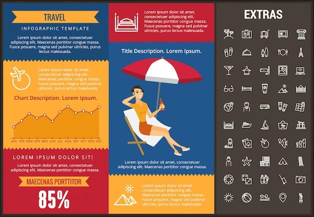 Шаблон инфографики путешествия, элементы и значки Premium векторы
