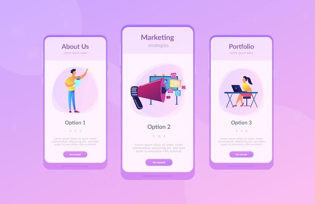 マーケティングアプリのインターフェーステンプレート Premiumベクター