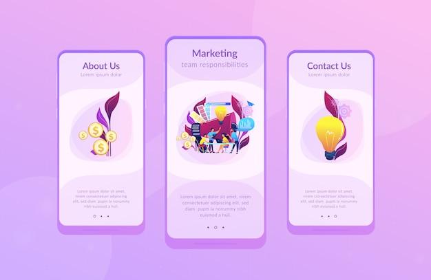 デジタルマーケティングチームのアプリインターフェイステンプレート Premiumベクター