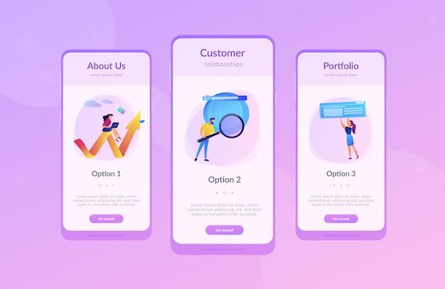 デジタルマーケティングアプリのインターフェイステンプレート Premiumベクター