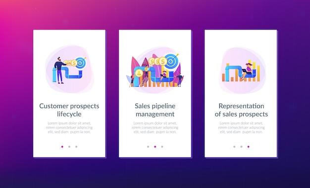 セールスファネル管理アプリのインターフェイステンプレート Premiumベクター