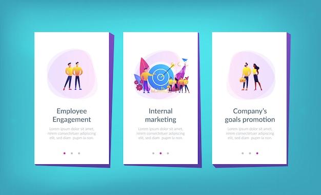 社内マーケティングアプリのインターフェイステンプレート Premiumベクター
