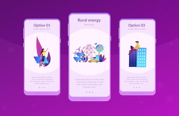 再生可能エネルギーアプリのインターフェイステンプレート。 Premiumベクター