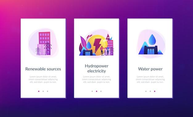 水力発電アプリのインターフェイステンプレート。 Premiumベクター