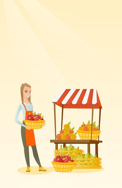 青果物のりんごがいっぱい入った箱。 Premiumベクター