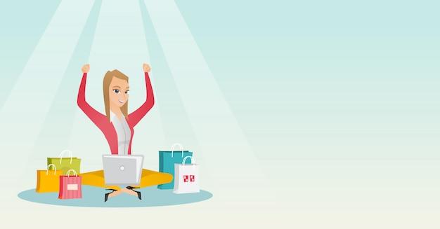 オンラインショッピングのためのラップトップを使用して白人女性 Premiumベクター