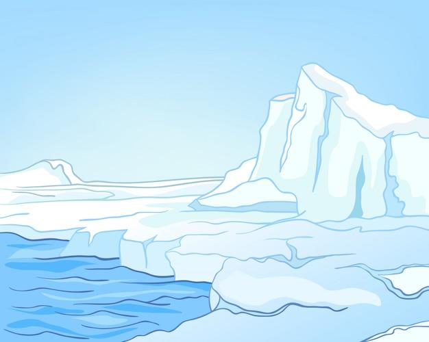 漫画自然風景北極 Premiumベクター